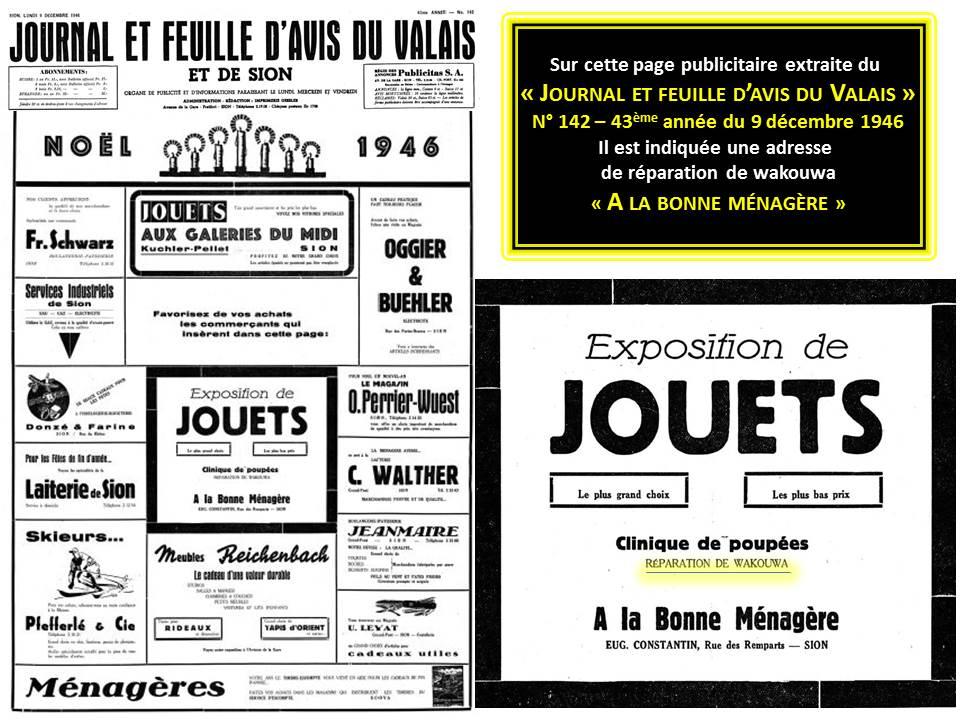 publicité Journal et Feuille d`avis du Valais de 1946